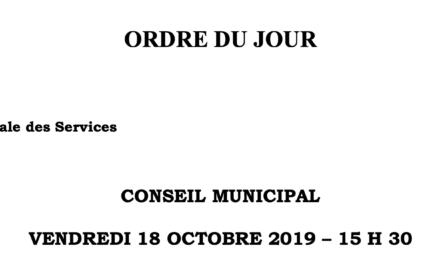 Ordre du jour du conseil municipal de Cagnes sur mer – Vendredi 18 octobre 2019